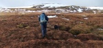 Crossing boggy ground as we near the last rise onto The Fara